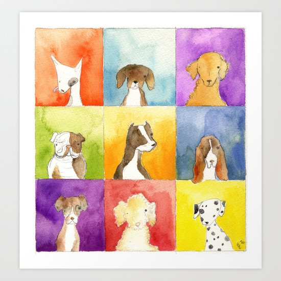 Dogs in Squares Art Print