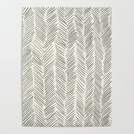Herringbone Black on Cream Poster
