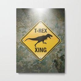 T-Rex Crossing Metal Print