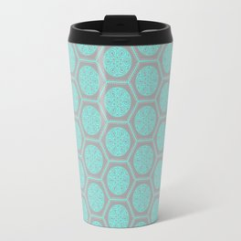 Hexagonal Dreams - Grey & Turquoise Travel Mug