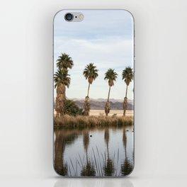 California Lake Lined Palm Tree Photograph iPhone Skin