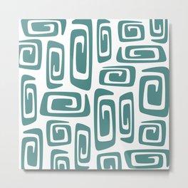 Mid Century Modern Cosmic Abstract 613 Teal Green Metal Print