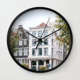 City Centre of Amsterdam || Colorful travel photography art Cityscape Buildings Bridge Architecture Wall Clock