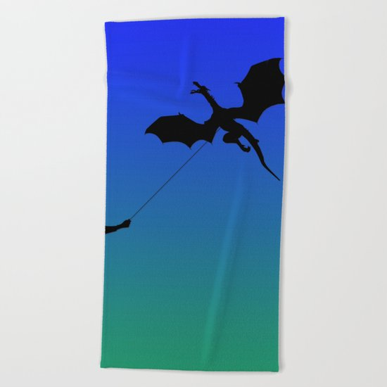 Magical Dragon Dragon (blue green) Beach Towel