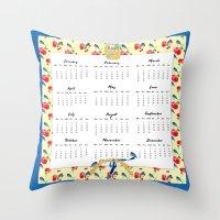calendar 2015 Throw Pillows featuring 2015 Calendar, Bluebirds and Geraniums by KarenHarveyCox
