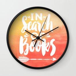 In Search of Books + Peach Inverse Wall Clock