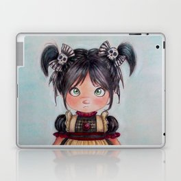 gothic girl and funny skulls Laptop & iPad Skin