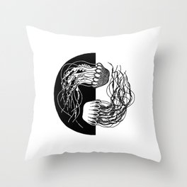 Jellyfish Yin Yang Throw Pillow