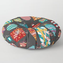 Christmas Ornaments and Presents Pattern Floor Pillow