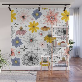 eclectic flower pattern Wall Mural
