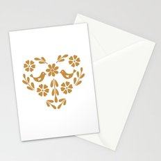 Golden heart shaped floral and bird Stationery Cards