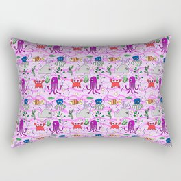 under the sea, pink wave background, ocean, whale,fish,octopus,jellyfish,crab Rectangular Pillow