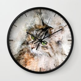 Duchess Watercolor Cat Wall Clock