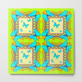 Southwestern  Lime & Turquoise Butterflies Gold Patterns Art Metal Print
