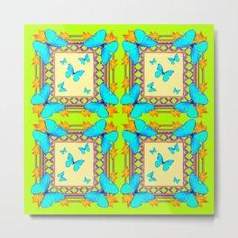Southwestern  Lime & Turquoise Butterflies Gold Patterns Art Metal Print