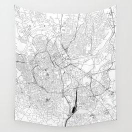 Nashville White Map Wall Tapestry