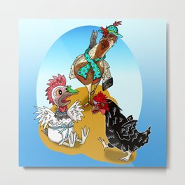 Cartoon chickens find a slug Metal Print
