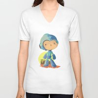 megaman V-neck T-shirts featuring Megaman by Rod Perich
