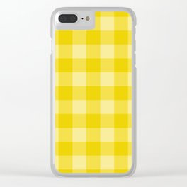 Yellow Checkered Plaid Squares Clear iPhone Case