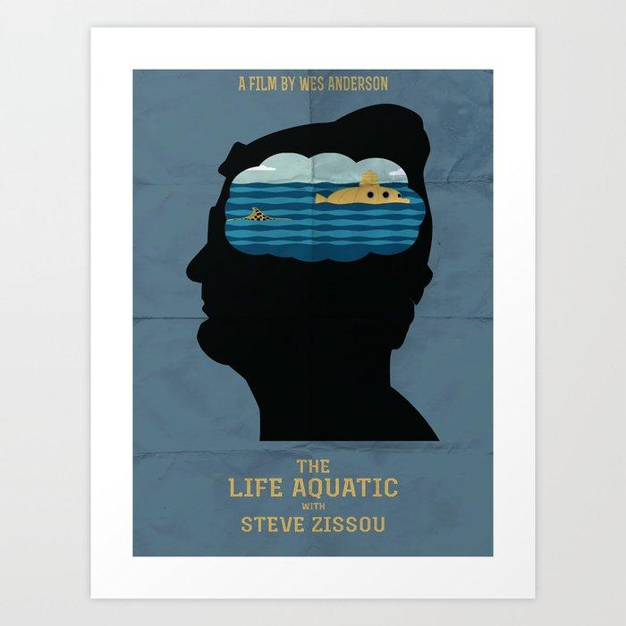 the life aquatic movie poster art print by j0nhernandez