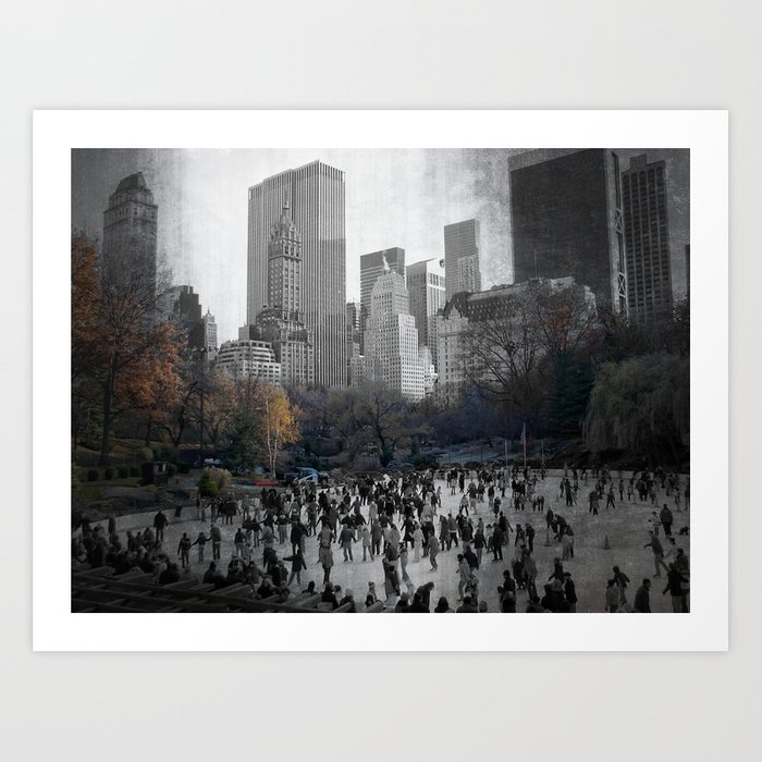 Ice Skating In Central Park Art Print By Janetgrainger Society6