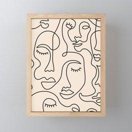 Abstract Single Line Face  Framed Mini Art Print