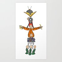 fandom Art Prints featuring The Fandom Totem Pole by Tricksterbelle Productions