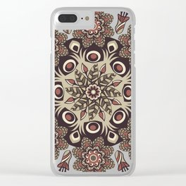 mandala pattern round brown floral Clear iPhone Case