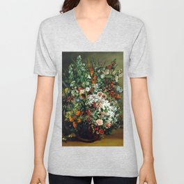 Gustave Courbet Bouquet of Flowers in a Vase Unisex V-Neck