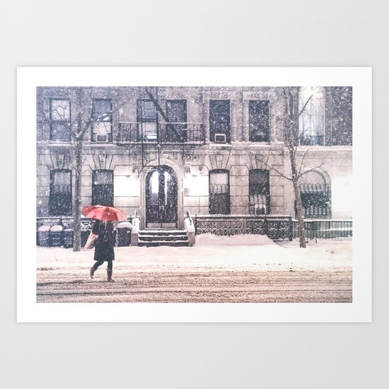 New York City Snow and Red Umbrella Art Print