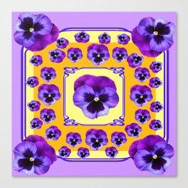 SPRING  PURPLE PANSY FLOWERS YELLOW GARDEN ART Canvas Print