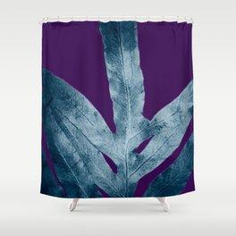 Midnight Sepia Navy Blue Purple Fern Shower Curtain