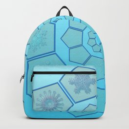 Polygons with snowflakes in gradient blue Backpack