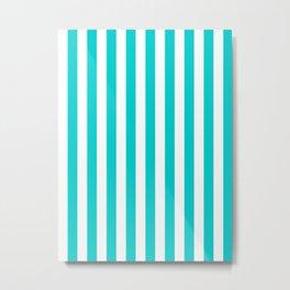 Narrow Vertical Stripes - White and Cyan Metal Print