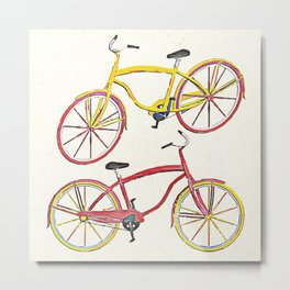 Illustration Bicycle Low Poly Style Metal Print