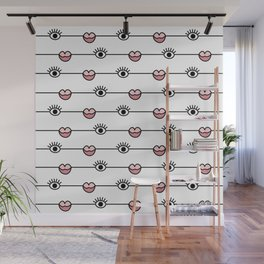 Funky Graphic Lips and Eyes Pattern Black, Pink, White Wall Mural