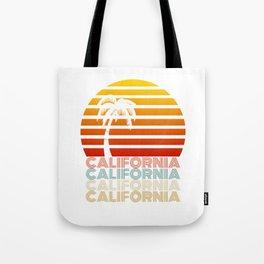California Summer Sunset Beach Vintage Style Tote Bag