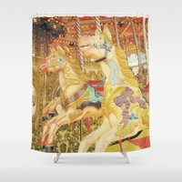 carousel Shower Curtains featuring Carousel Horse by WhimsyRomance&Fun