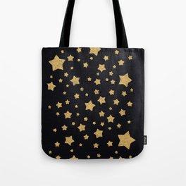 Gold Stars on BLack Tote Bag