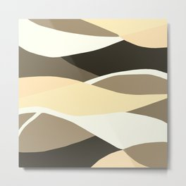 Beige Brown and Taupe Abstract Metal Print