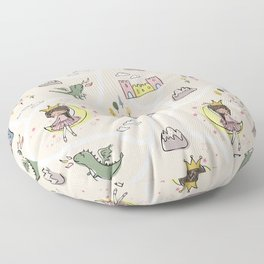 Childish seamless pattern with princess and dragon beige background Floor Pillow