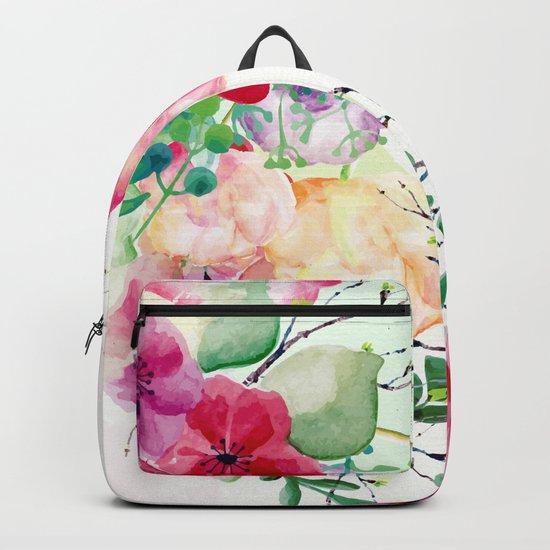 Vintage Flowers - Watercolor Floral Painting Backpack