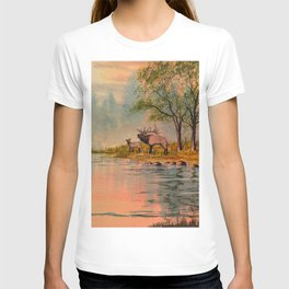 Elk Beside A misty River T-shirt