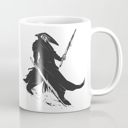 Samurai skull - japanese evil - black and white - fighter illustration - grim reaper cartoon Coffee Mug
