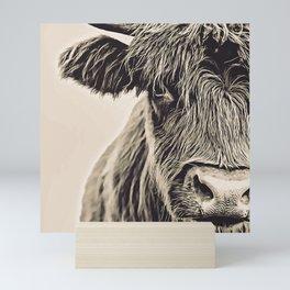 Vintage Highland Cow Mini Art Print
