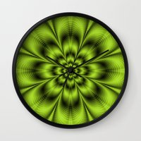 lime green Wall Clocks featuring Lime Green Flower by Objowl