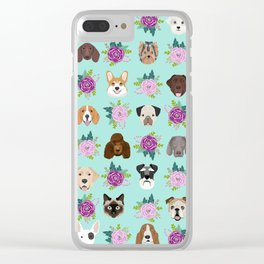 Dogs and cats pet friendly floral animal lover gifts dog breeds cat ladies Clear iPhone Case