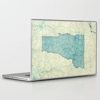 vermont Laptop & iPad Skins featuring Vermont State Map Blue Vintage by City Art Posters