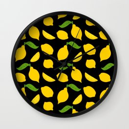 Meyer Lemons on Black Wall Clock