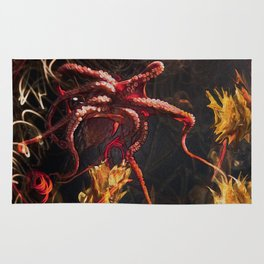 Blooming Crimson Octopus Rug